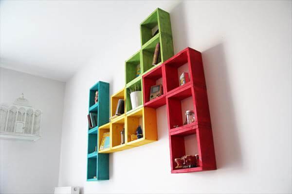 repurposed pallet art style wall shelf