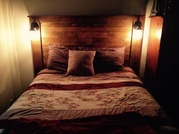 diy sturdy pallet headboard with scones lights