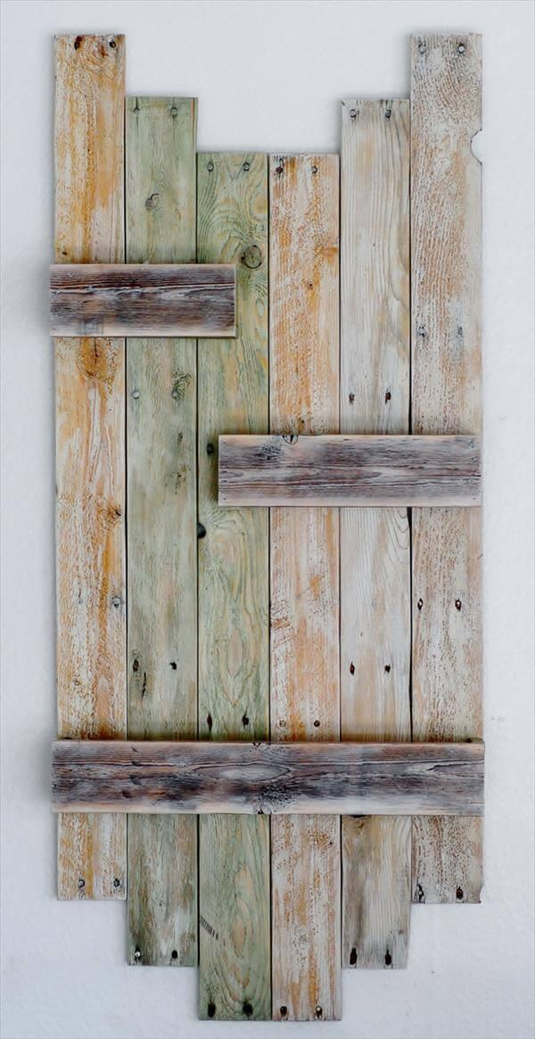 salvaged pallet hanging wall planter