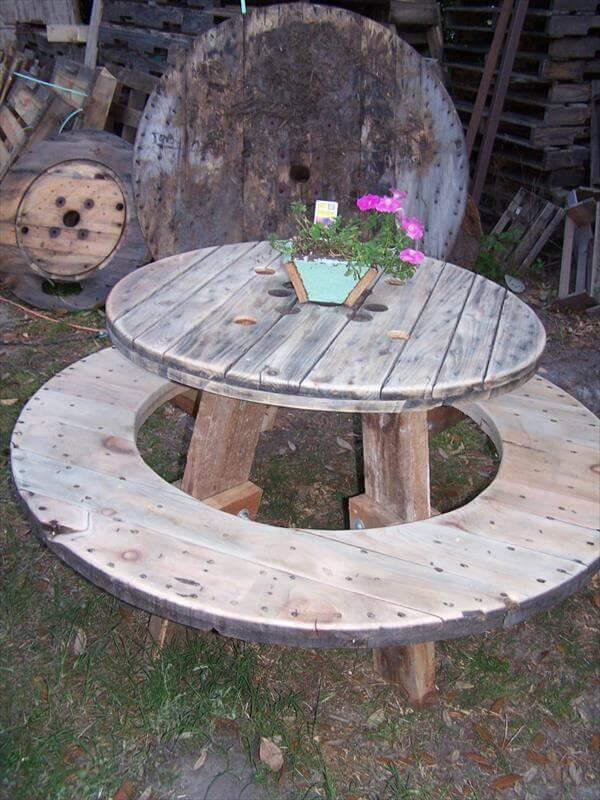 Handmade Pallet And Cable Spool Picnic Table