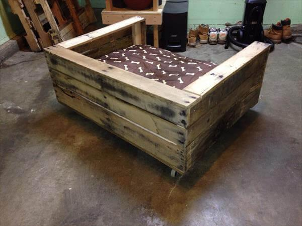 handcrafted pallet cushioned dog bed