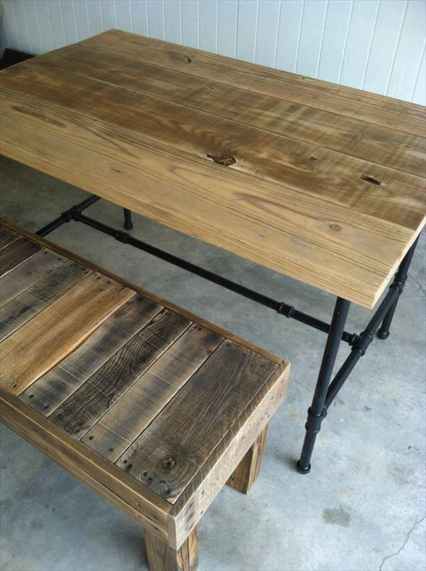 wooden pallet industrial dining table