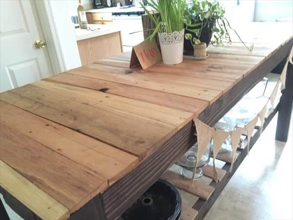 custom built pallet kitchen island table