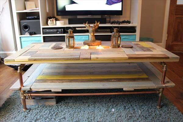 Reclaimed Industrial Pallet And Copper Pipe Coffee Table With 2 Levels