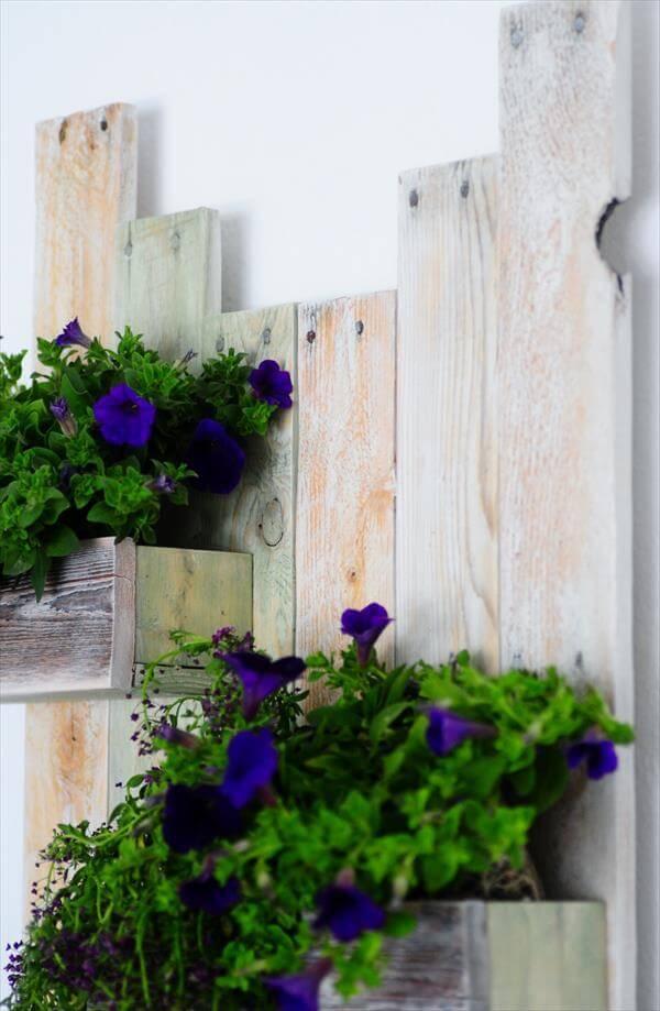 wooden pallet hanging planter shelf
