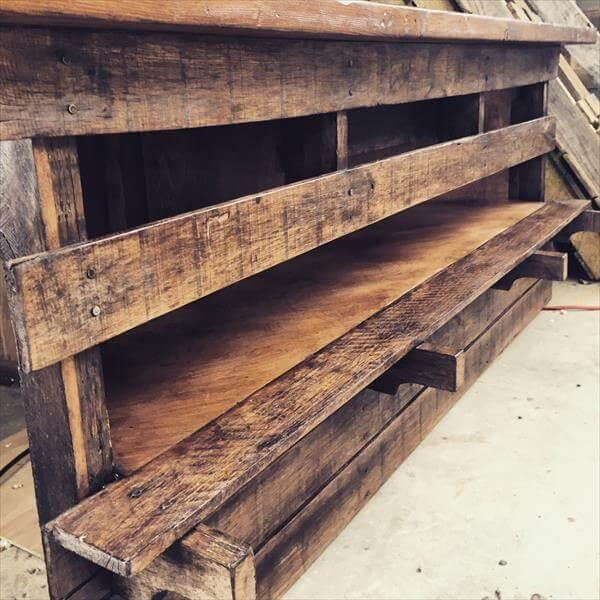 handmade pallet sectional TV stand