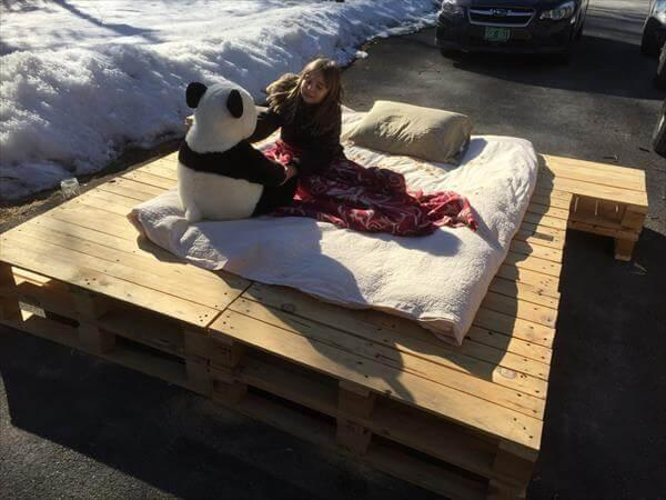 recycled pallet platform bed
