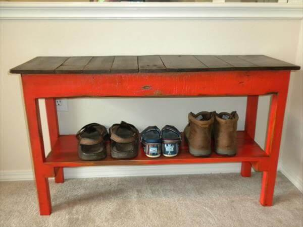 recycled pallet wood bench with shoes storage