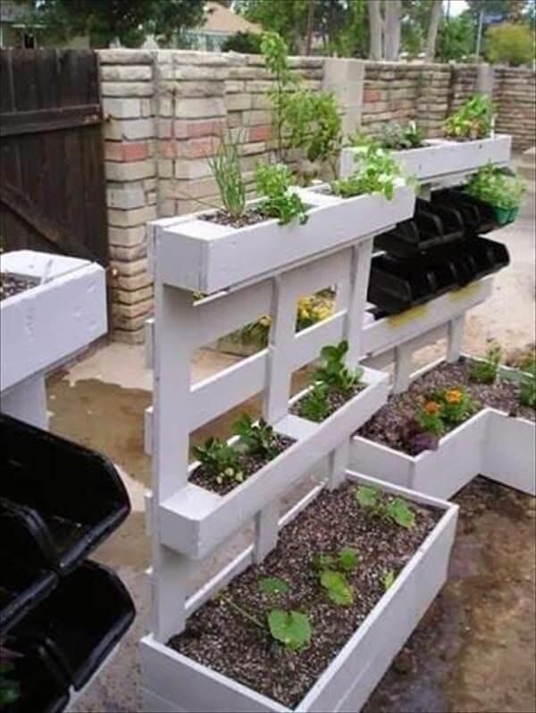 recycled pallet white planter