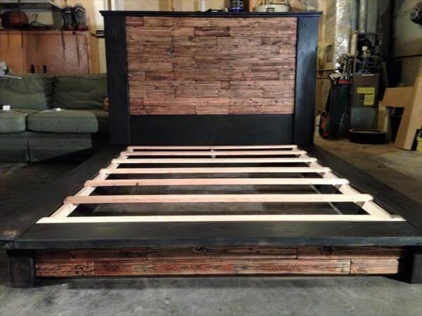 recycled pallet platform bed with headboard