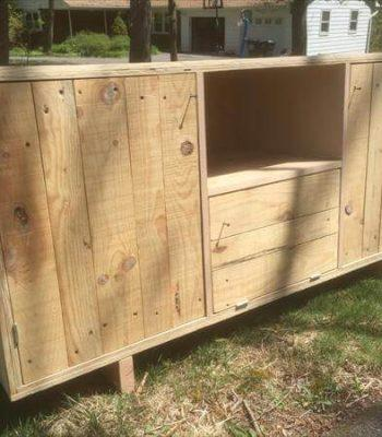 recycled pallet media console and TV unit