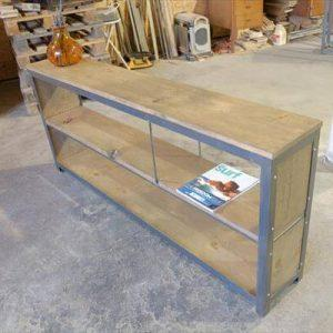 reclaimed pallet and steel console table