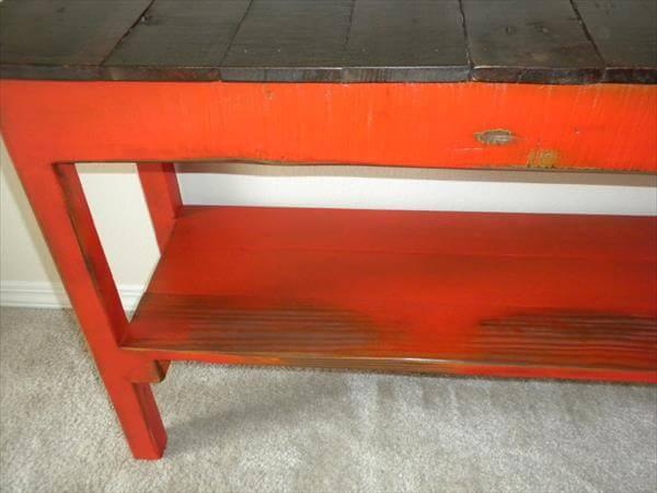 reclaimed pallet entry way bench