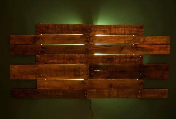 recycled pallet headboard backlit