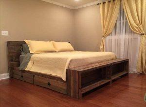 DIY Pallet Bed with Storage Drawers