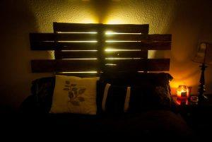 upcycled pallet bedroom backlit