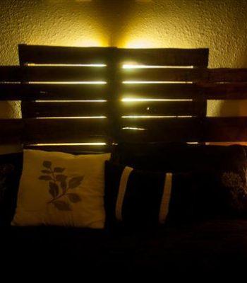 upcycled pallet bedroom backlit