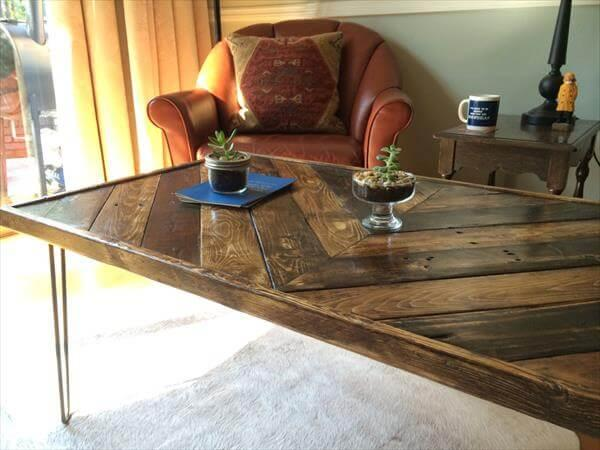 upcycled single chevron pallet coffee table