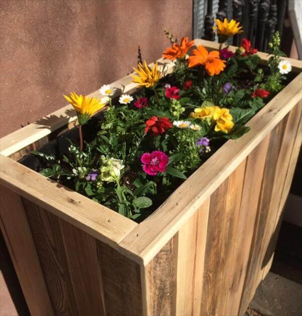 diy pallet wooden planter box
