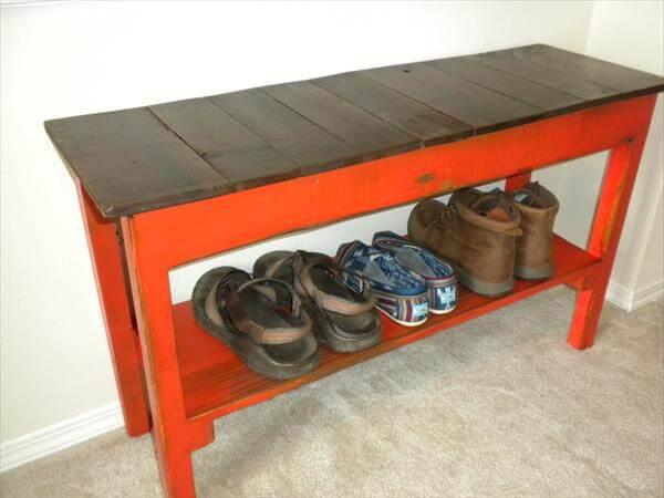 repurposed pallet entryway bench with shoes rack