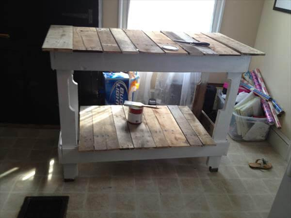 upcycled pallet kitchen island table