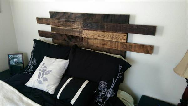 wooden pallet headboard backlit
