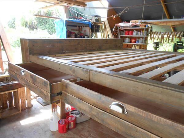 rustic yet modern pallet platform bed with storage