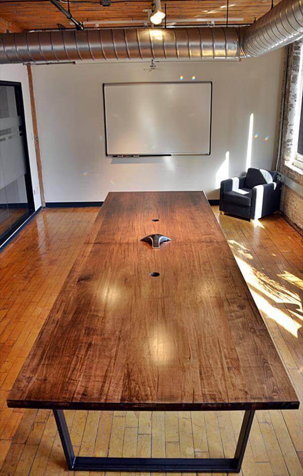 repurposed pallet sleek conference table
