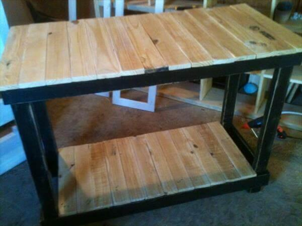 handcrafted pallet kitchen island with 2 levels