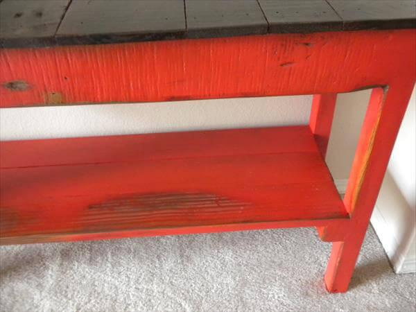 handcrafted wooden pallet mudroom bench with shoes storage
