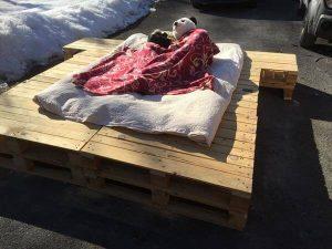 DIY Platform Pallet Bed with Side Table