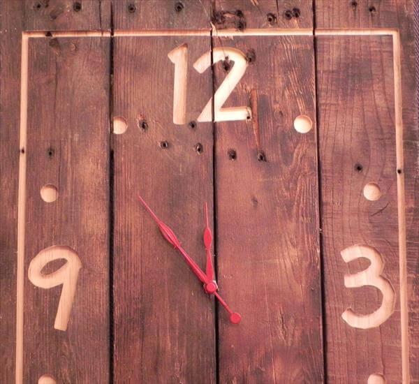 diy pallet accent wall clock