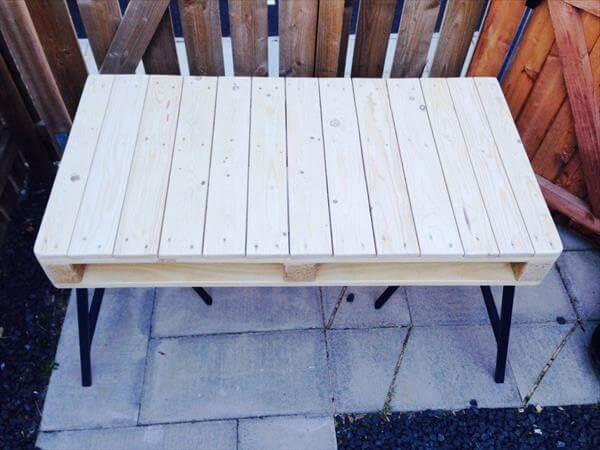 recycled pallet office desk with 3 post metal legs
