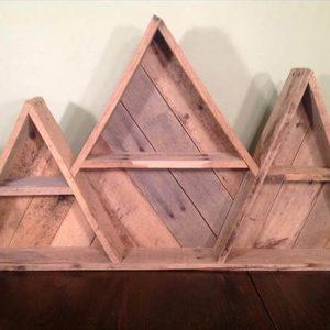upcycled pallet geometric mountain shelf