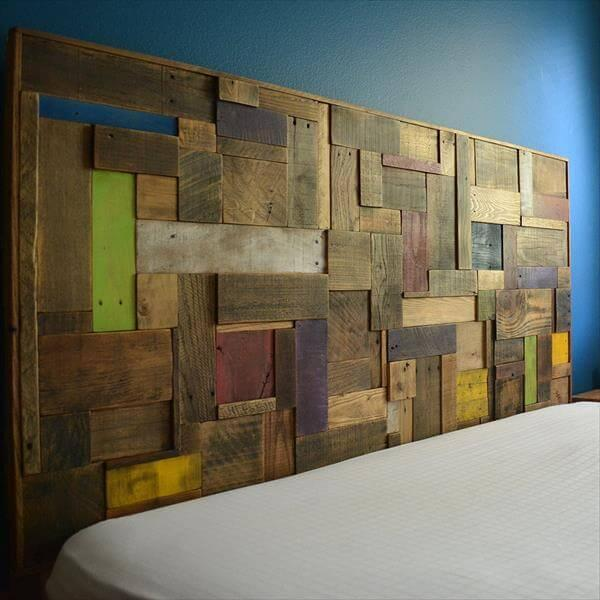 diy patterned pallet headboard