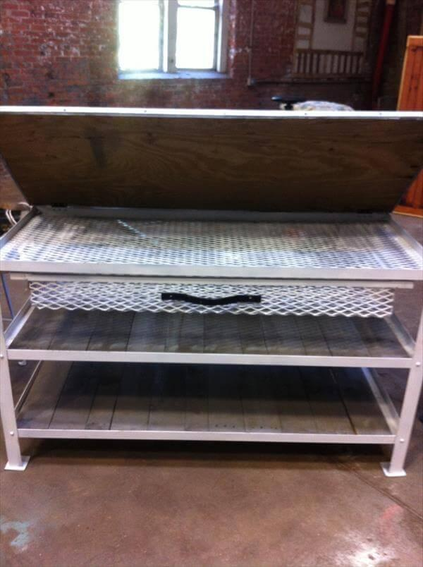 recycled pallet and metal kitchen island