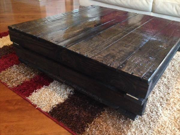 reclaimed sleek black pallet coffee table