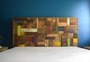 DIY Colorful Accent Pallet Headboard