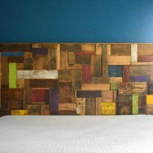 wooden pallet accent colorful headboard