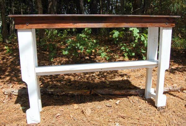 recycled pallet console and entryway table