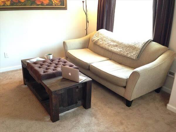 repurposed pallet wood rustic tufted coffee table