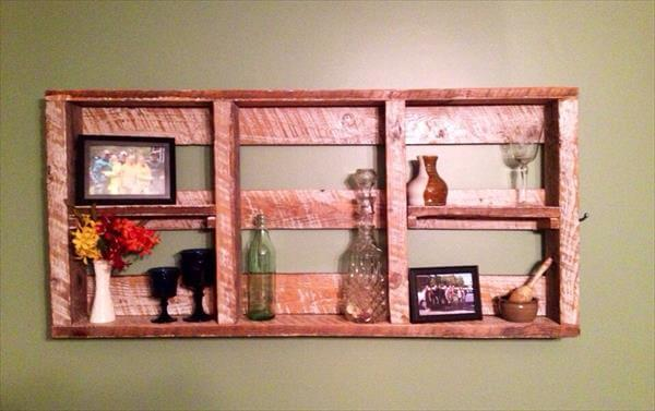 reclaimed pallet decorative wall hanging shelf