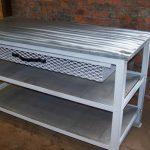 wooden pallet kitchen island table with metal base