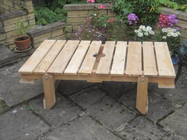 Diy Pallet Patio Table With Folding Flat Legs 101 Pallets