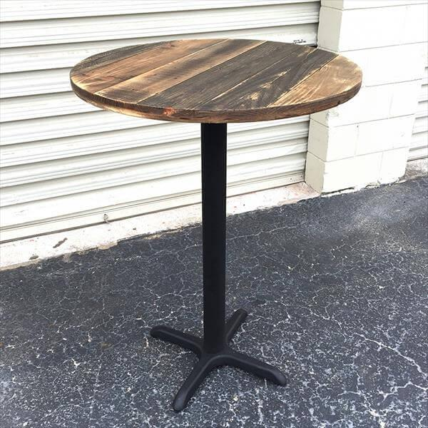 reclaimed rustic round top pallet table with metal pedestal base