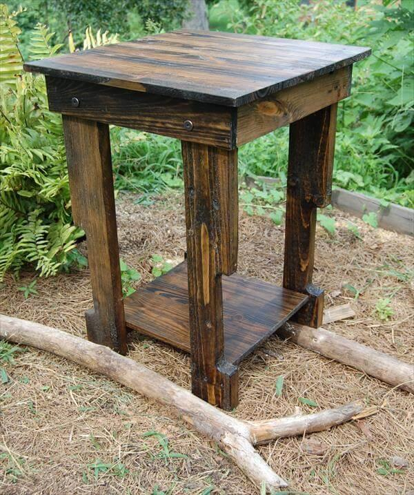 recycled pallet nightstand and sofa side table