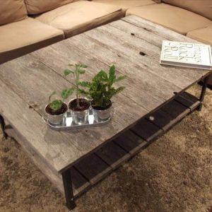 repurposed pallet and steel rustic coffee table