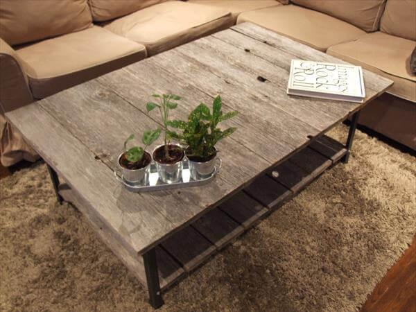 repurposed pallet and steel rustic coffee table