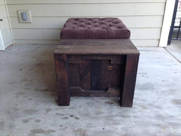 rustic yet modern pallet tufted coffee table