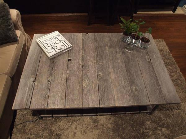 easy-to-build pallet and metal coffee table